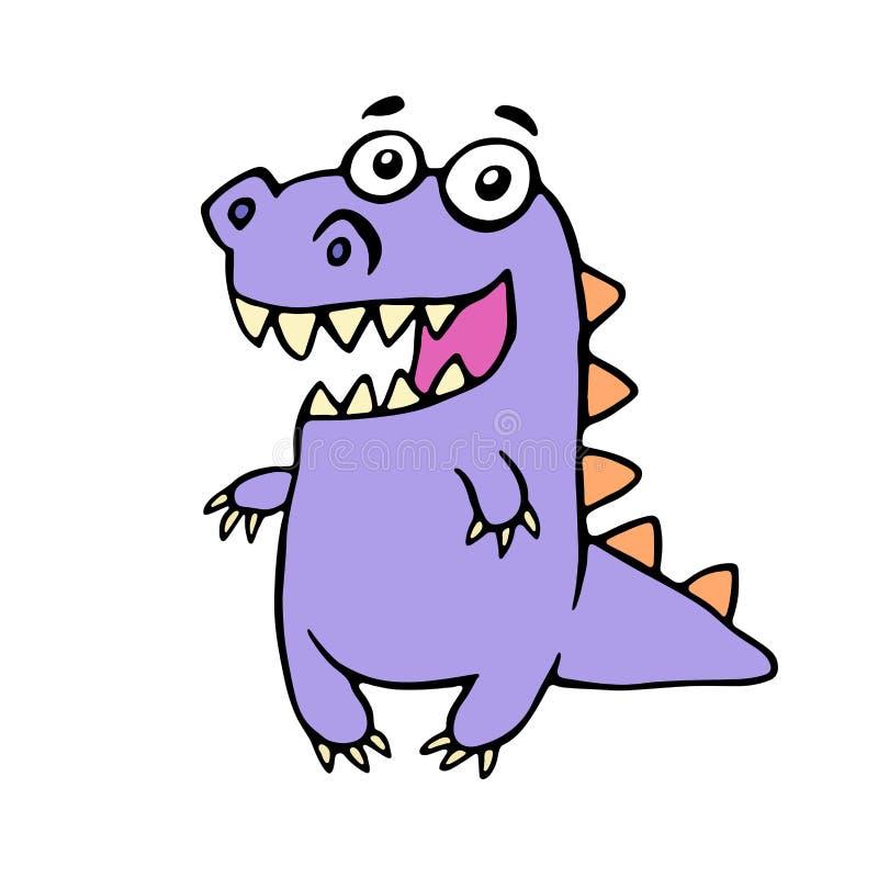 Cute smiling purple dinosaur. Vector illustration. royalty free illustration