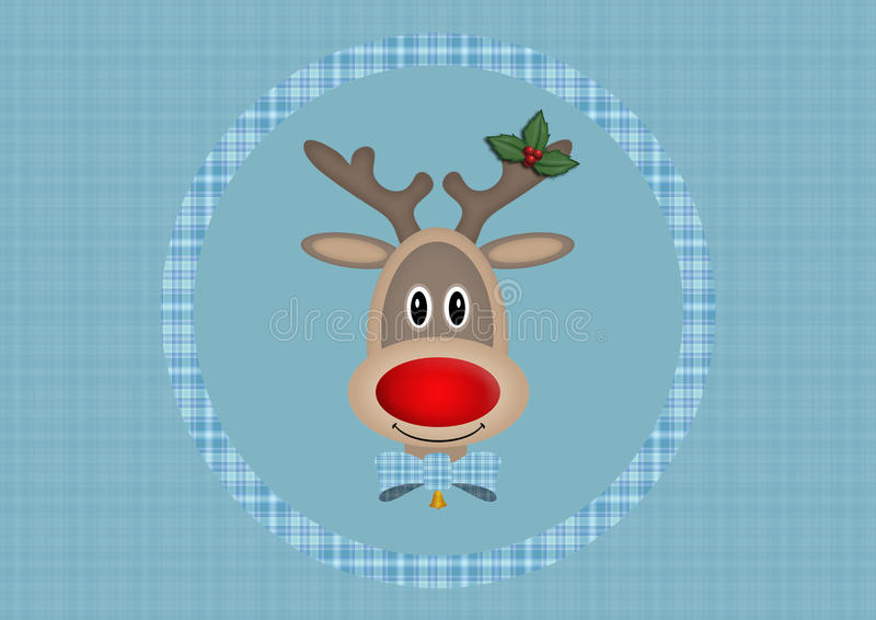 Cute smiling reindeer in circle on light blue background with plaid pattern, Christmas card design royalty free illustration