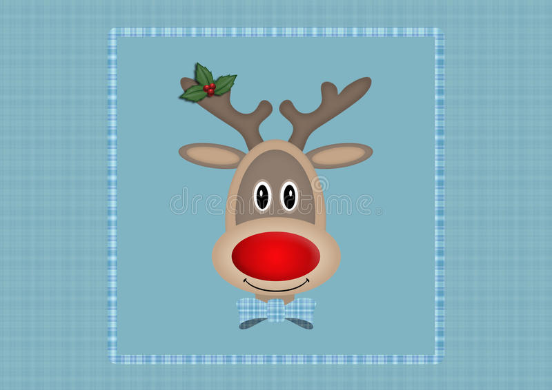Cute smiling reindeer in square on light blue background with plaid pattern, Christmas card design royalty free illustration