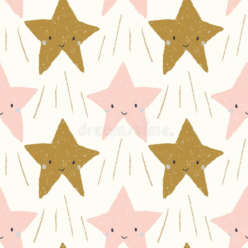 Cute smiling shooting stars in pink and gold seamless repeat pattern royalty free illustration
