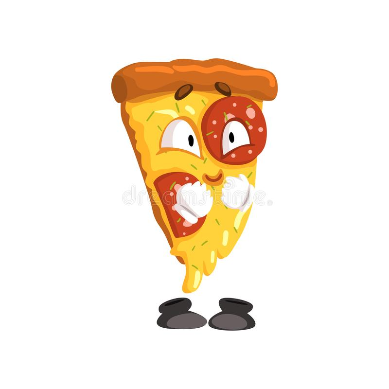 Cute smiling slice of pizza, funny cartoon fast food character vector Illustration on a white background. Cute smiling slice of pizza, funny cartoon fast food stock illustration