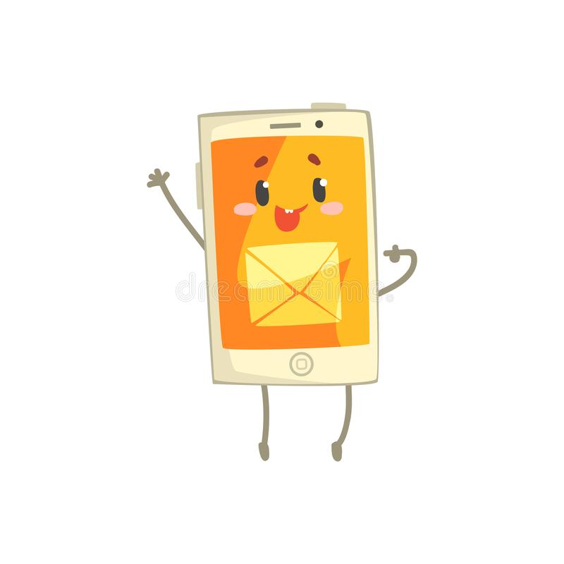 Cute smiling smartphone character with mail sign on its orange screen cartoon vector Illustration stock illustration