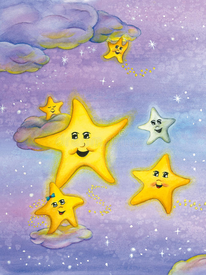 Cute smiling stars over the night sky. Watercolor art. stock illustration