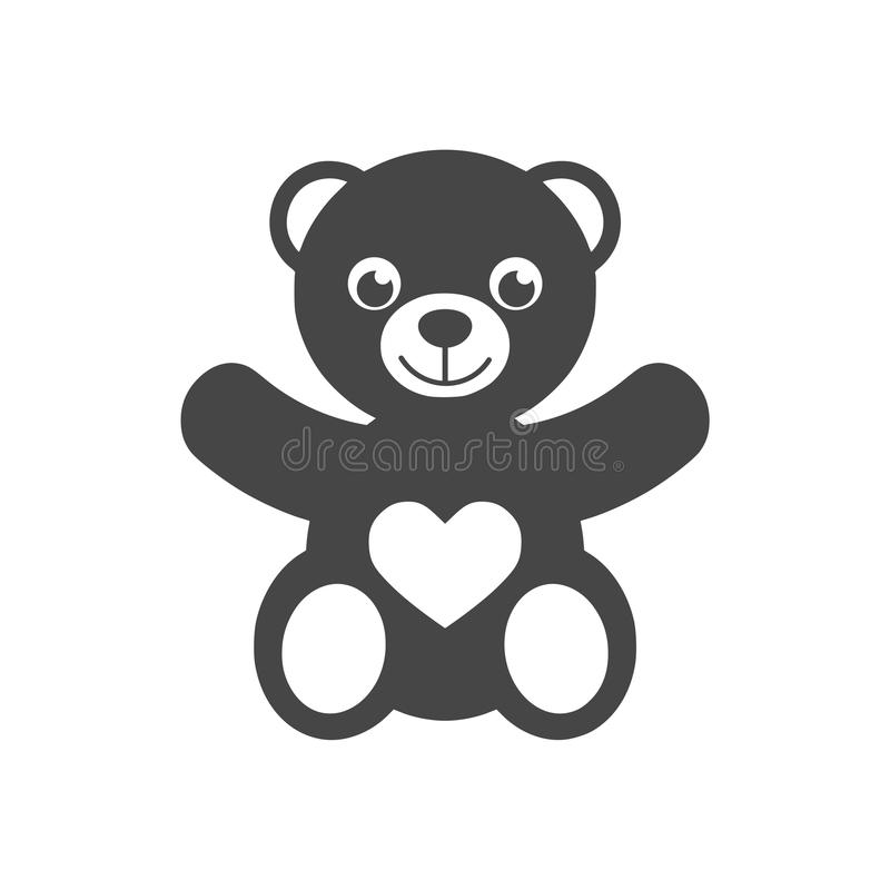 Cute smiling teddy bear icon or logo stock illustration