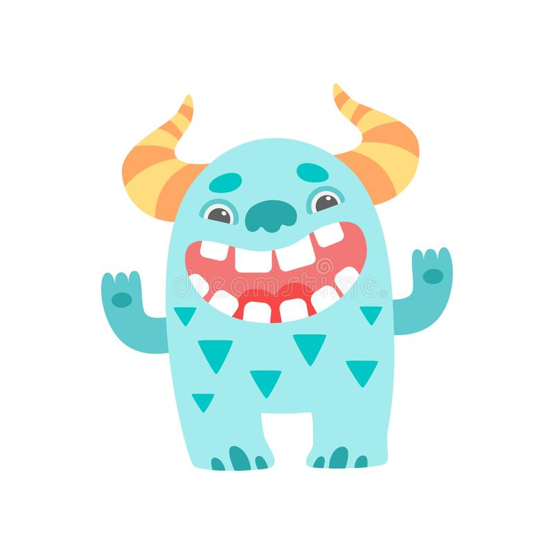 Cute Smiling Toothy Monster with Horns, Friendly Funny Alien Cartoon  Character Vector Illustration vector illustration