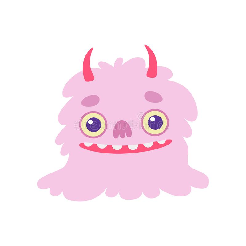 Cute Smiling Toothy Monster with Horns, Pink Fluffy Friendly Alien Cartoon Character Vector Illustration royalty free illustration