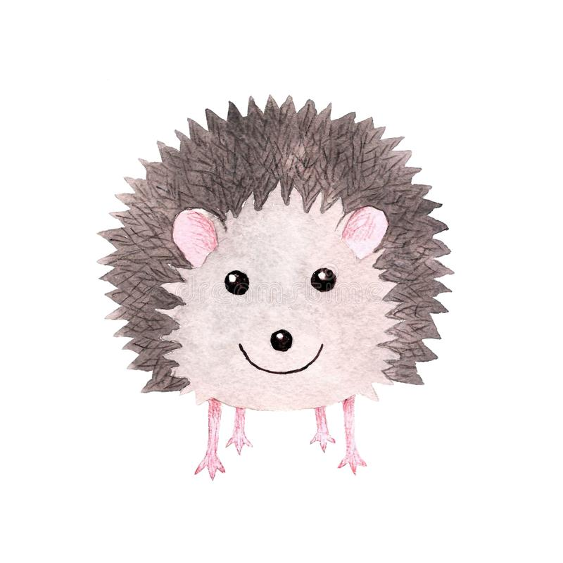Cute smiling watercolor hedgehog royalty free illustration