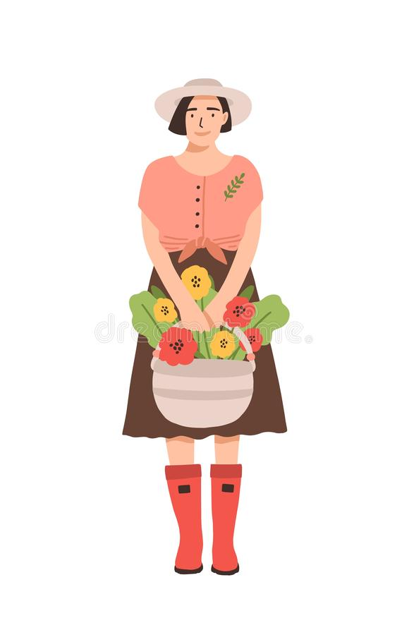 Cute smiling woman in rubber boots holding basket full of blooming flowers. Portrait of happy adorable young girl stock illustration