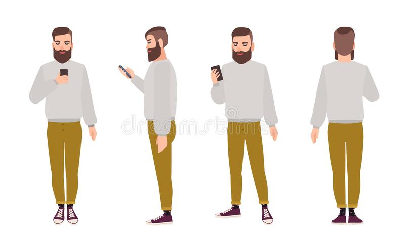 Cute smiling young hipster man with beard dressed in trendy clothes and holding smartphone. Flat male cartoon character royalty free illustration