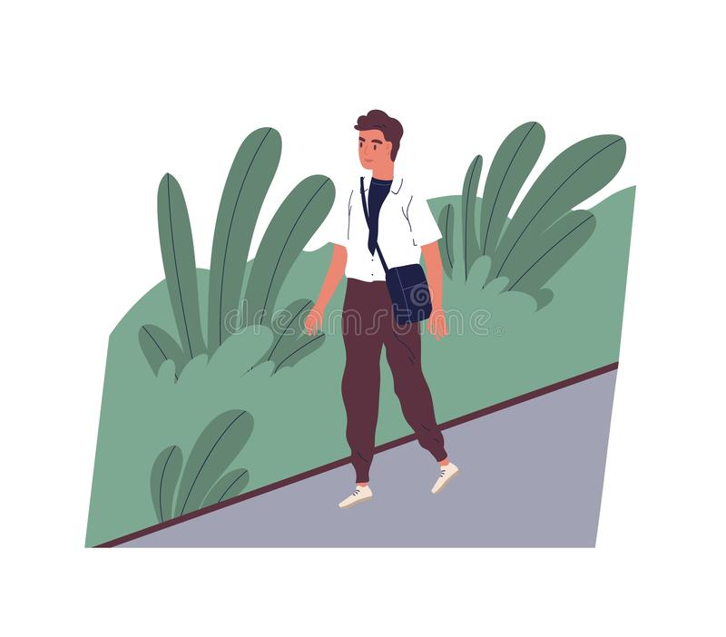 Cute smiling young man going to work. Happy male character walking on city street. Morning activity of clerk or office vector illustration