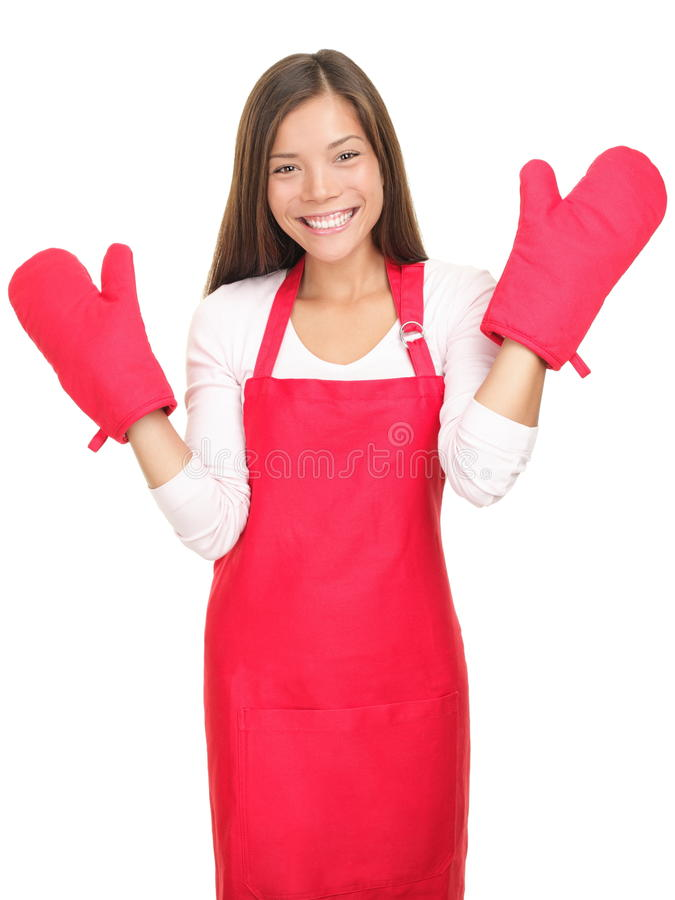 Download Cute Smiling Young Woman With Cooking Mittens Stock Image - Image: 17148107