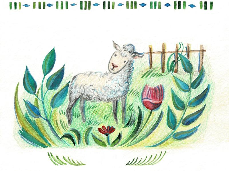 Cute smilng funny sleeping sweet sheep. Design for child card,t-shirt. Sheep animal concept. stock photography