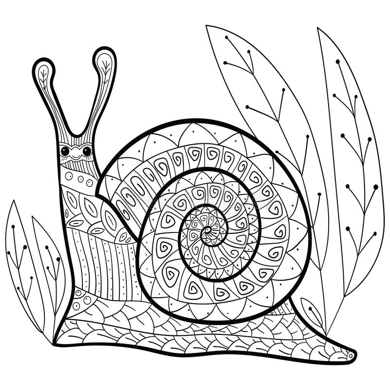 cute snail adult coloring book page stock vector illustration of rh dreamstime com Vector Food Coloring Coloring Pattern Vector
