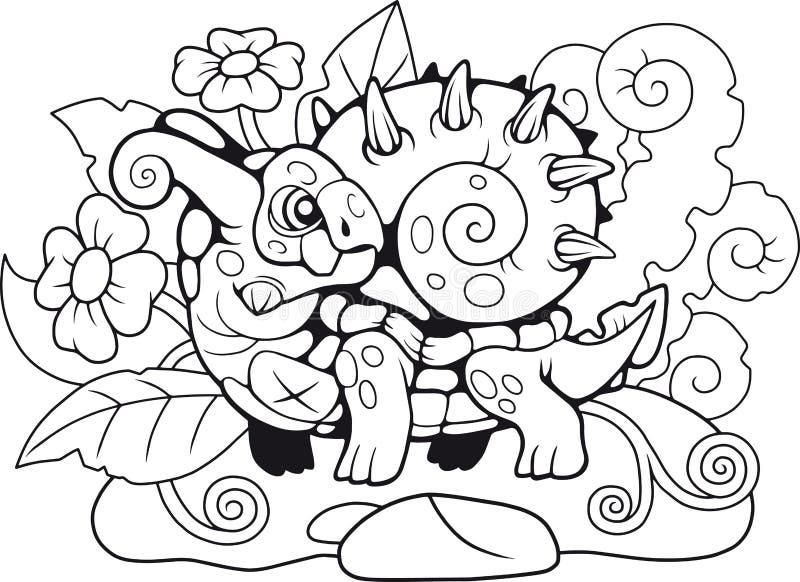 Cute snail dragon, coloring book, funny illustration stock illustration