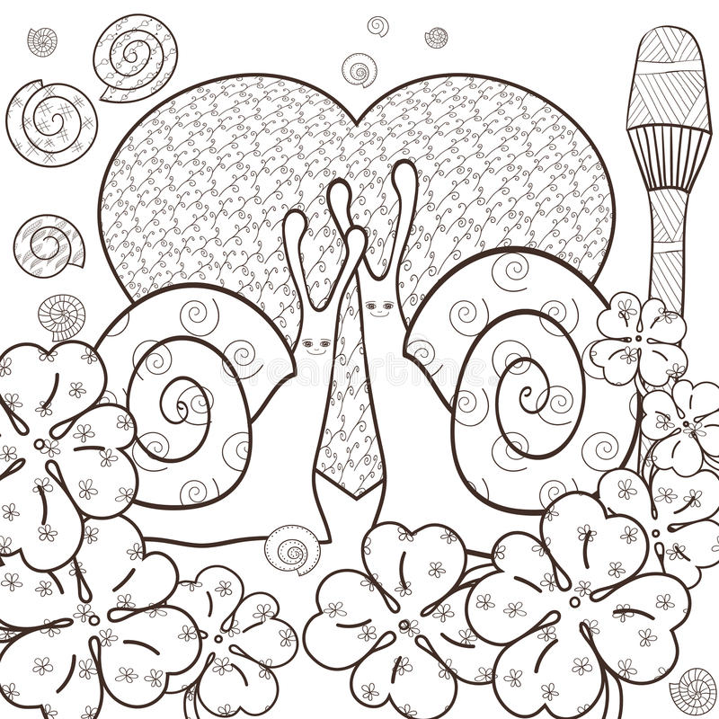 Download Cute Snails Adult Coloring Book Page Vector Illustration Stock