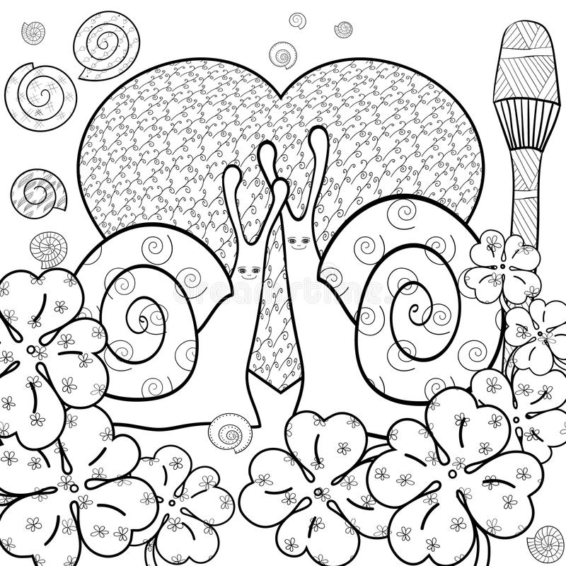 Cute Snails Adult Coloring Book Page. Vector Illustration. Stock ...