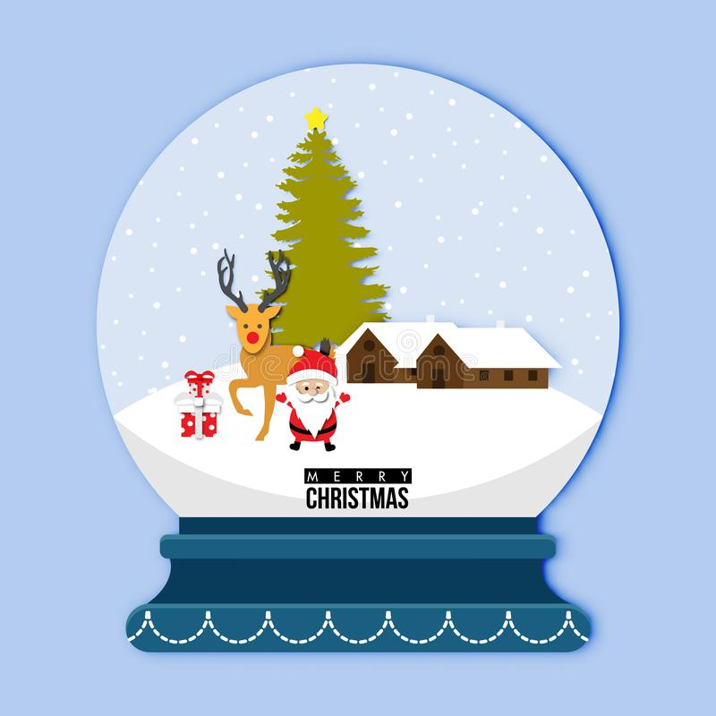 A cute snow globe with Santa claus and reindeer on Snow Background in Christmas Festival and paper art design ,abstract vector. A cute snow globe with Santa stock illustration