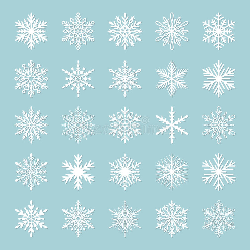 Cute snowflake collection isolated on blue background. Flat snow icons, snow flakes silhouette. Nice snowflakes for christmas vector illustration