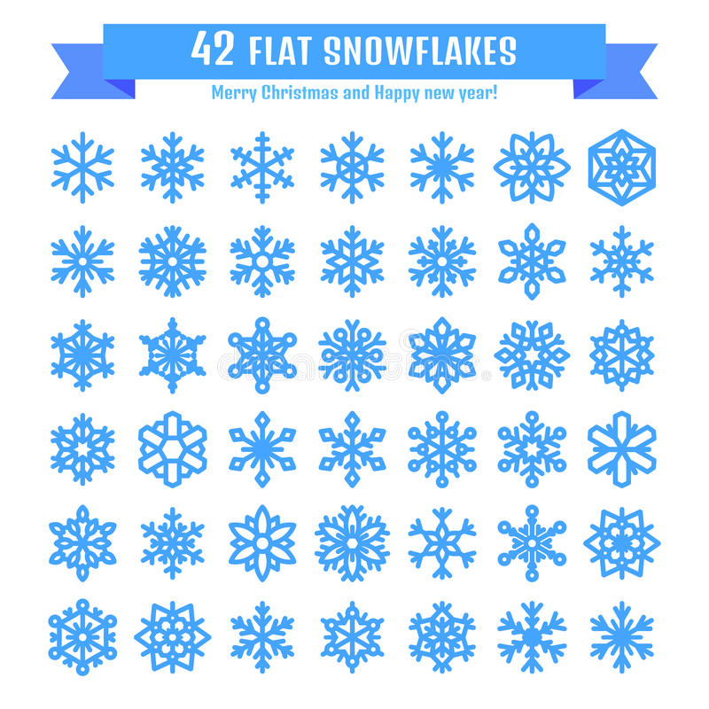 Cute snowflake collection isolated on white background. Flat snow icon, snow flakes silhouette. Nice snowflakes for christmas stock illustration