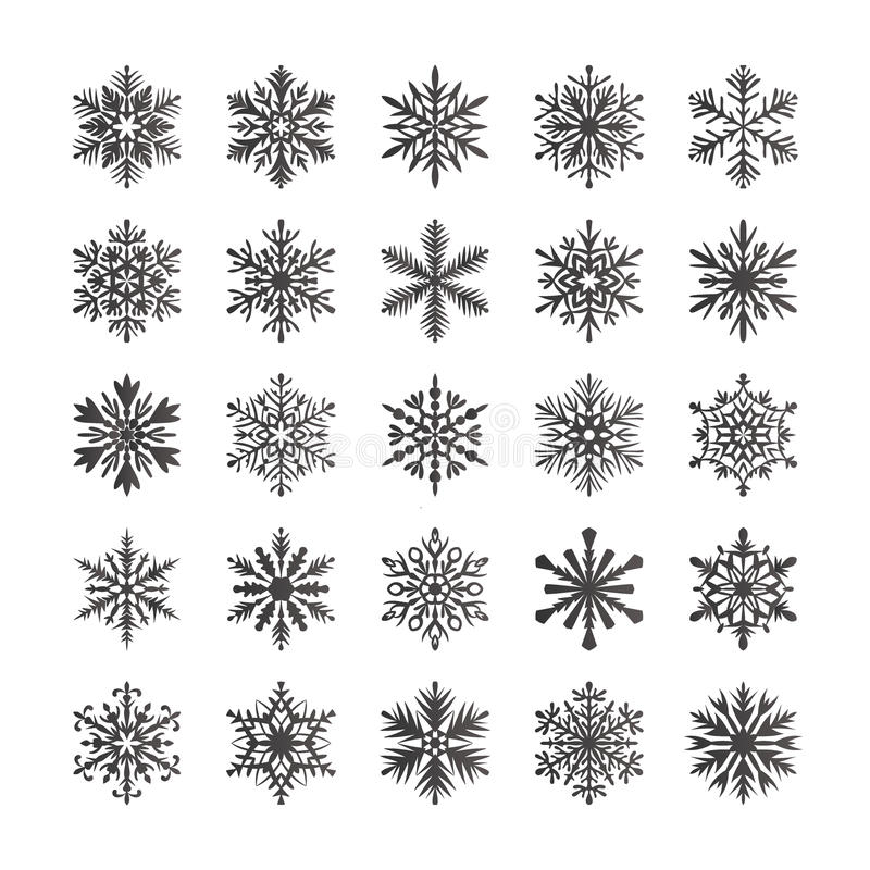 Cute snowflake collection isolated on white background. Flat snow icons, snow flakes silhouette. Nice snowflakes for christmas ban vector illustration
