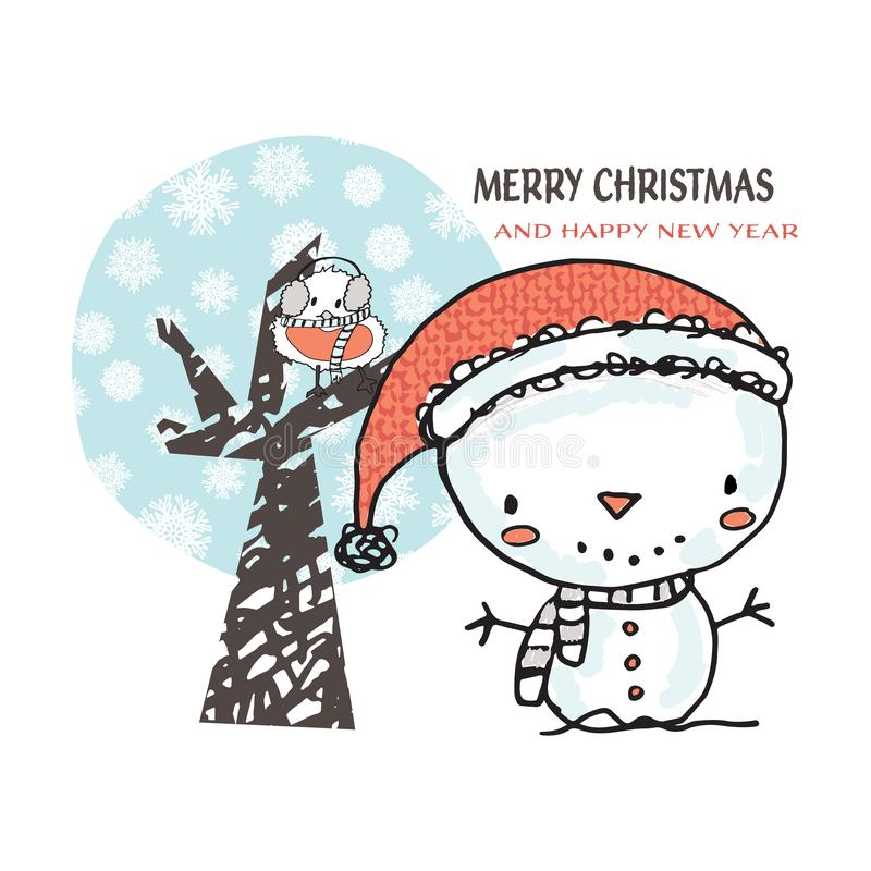 Cute Snowman and bird in snowflake tree vector illustration. Hand drawn snowman cartoon character design for greeting cards and stock illustration