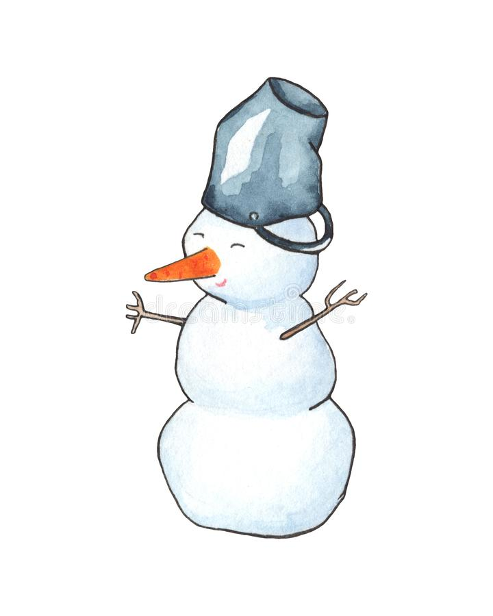 Cute snowman with bucket watercolor illustration. Winter outdoor activity. royalty free illustration
