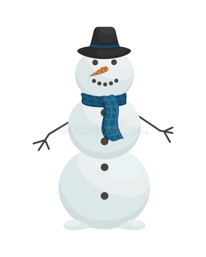 Free Cute Snowman In Hat And Scarf. Winter Entertainment. Flat Vector Illustration Stock Image - 160982621