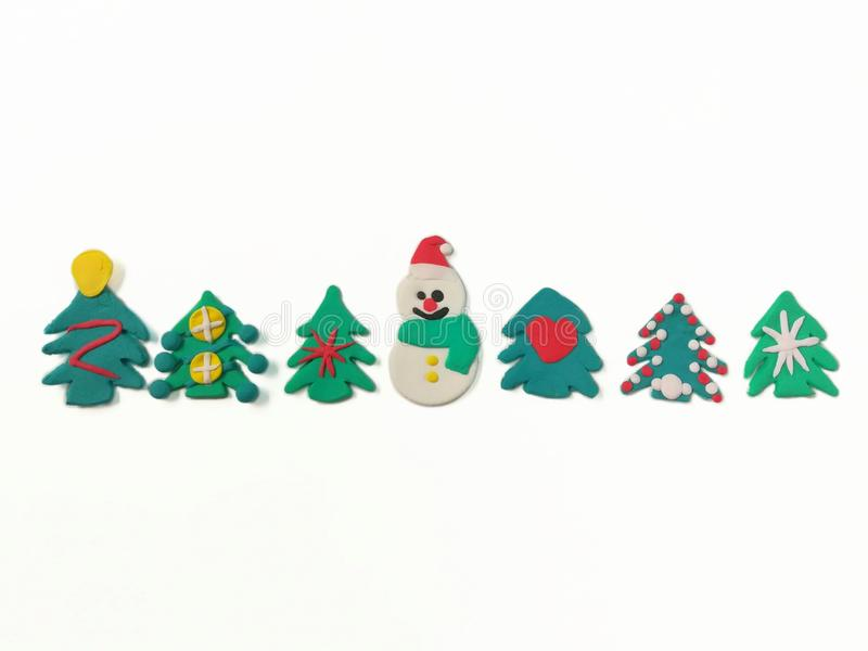 Cute snowman plasticine clay, variety Christmas tree dough stock images