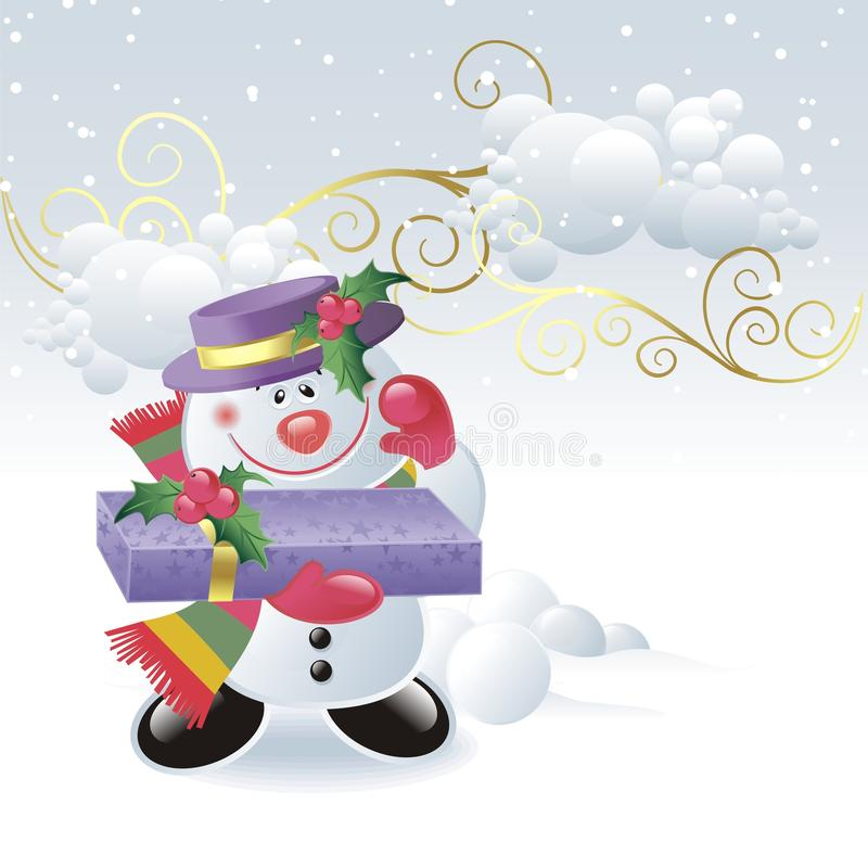 Free Cute Snowman With Gift Box Royalty Free Stock Photo - 11856645