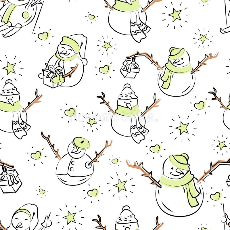 Cute snowmen repeated in winter holiday pattern stock illustration
