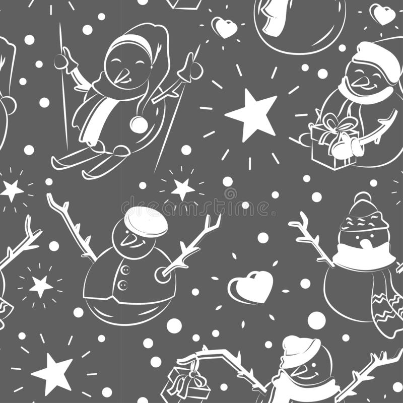 Cute snowmen repeated in winter holiday pattern royalty free illustration
