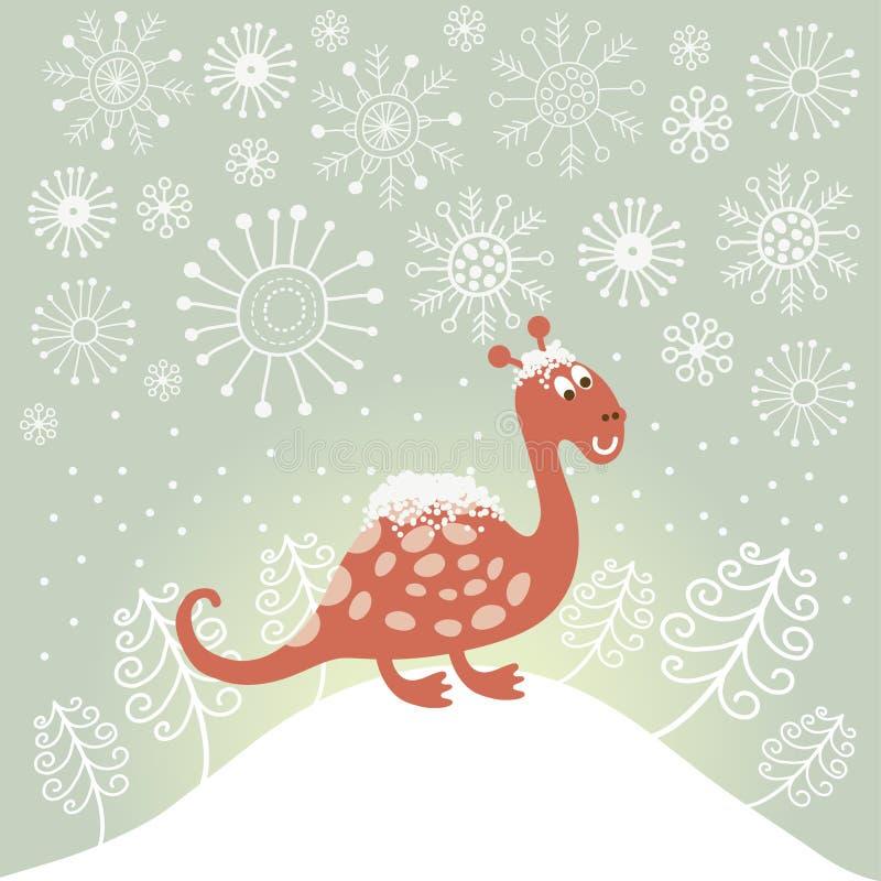 Cute snowy dragon royalty free illustration