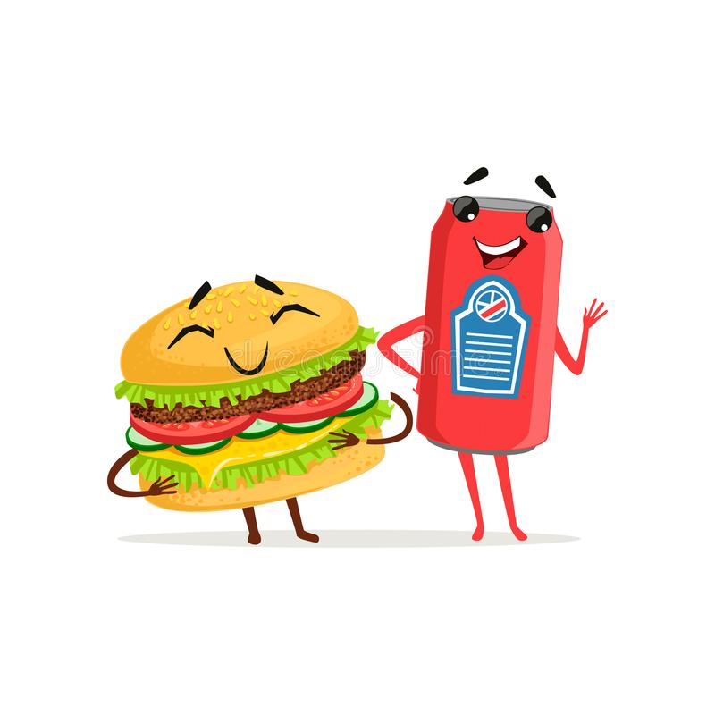 Cute soda can and hamburger characters posing with smiling faces. Fast food concept. Vector flat illustration. Cute soda can and hamburger characters posing with royalty free illustration