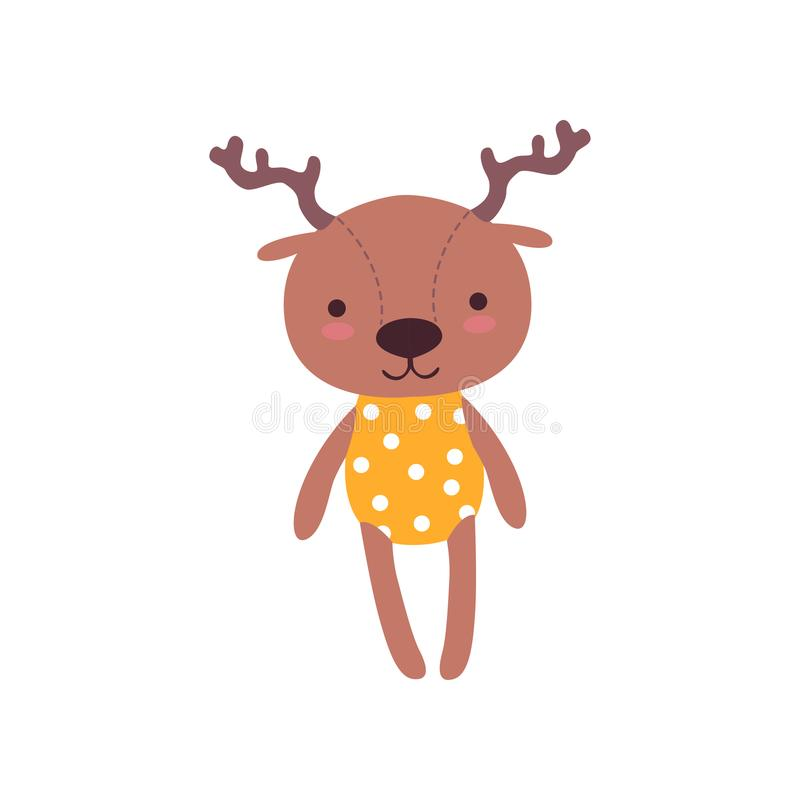 Cute soft baby deer plush toy, stuffed cartoon animal vector Illustration royalty free illustration