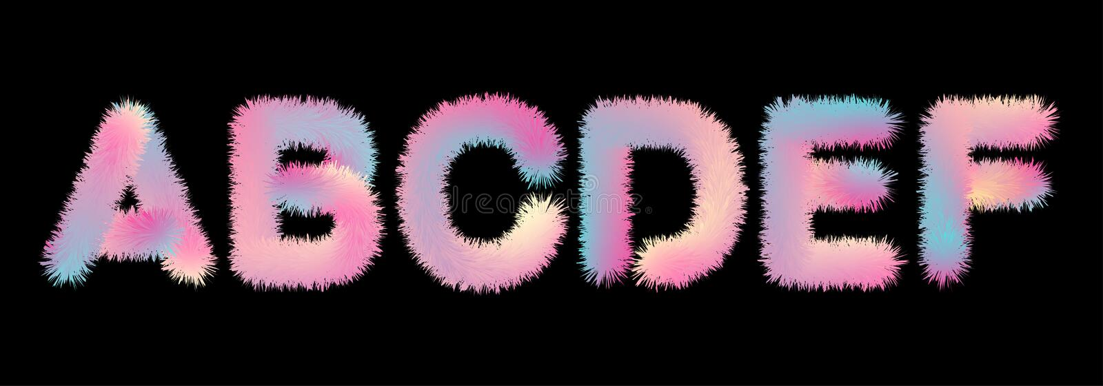 Cute soft fur letters in 80s style. In pastel rainbow colors for your decoration royalty free illustration