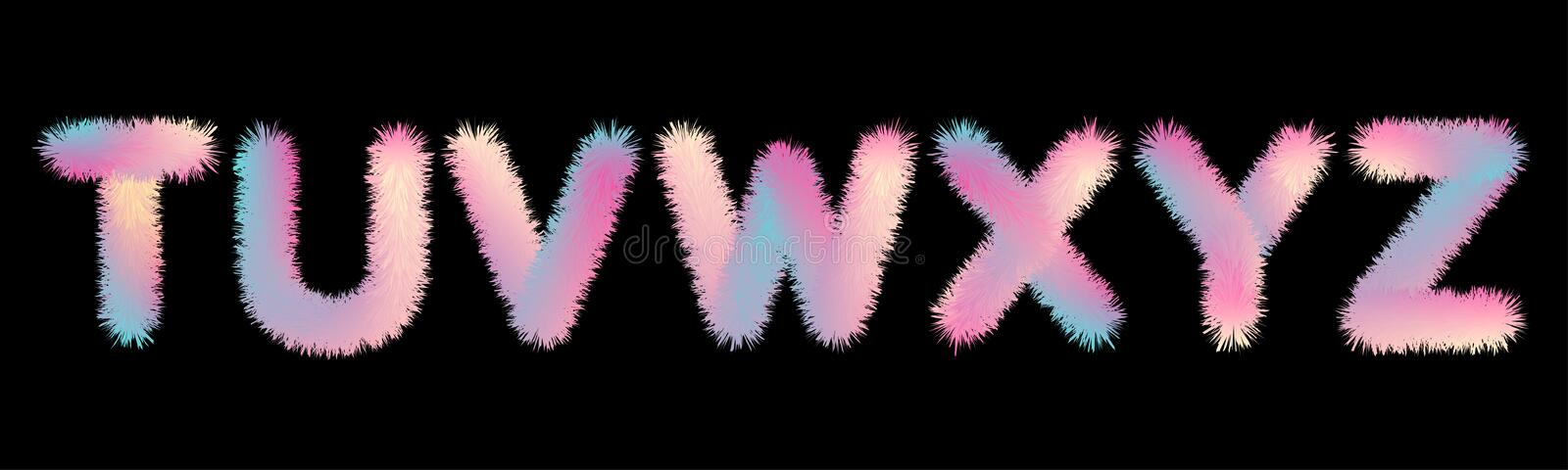 Cute soft fur letters in 80s style. In pastel rainbow colors for your decoration stock illustration