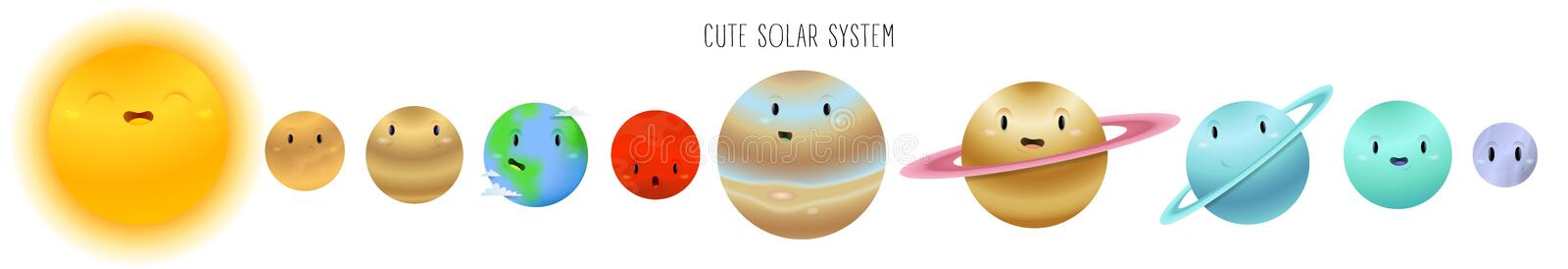 Cute solar system in cartoon style isolated on a white background stock illustration