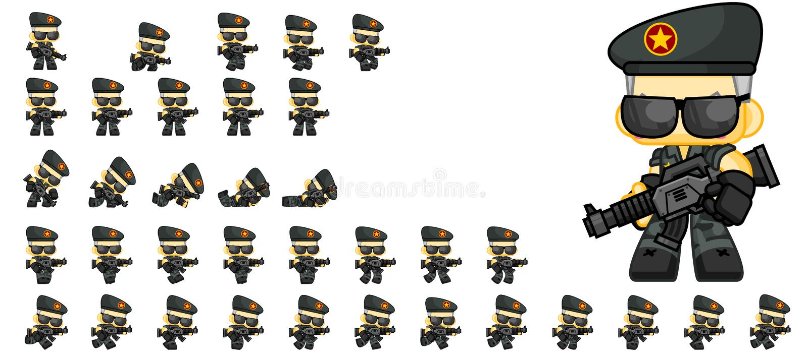 Cute Soldier Character Sprites stock illustration
