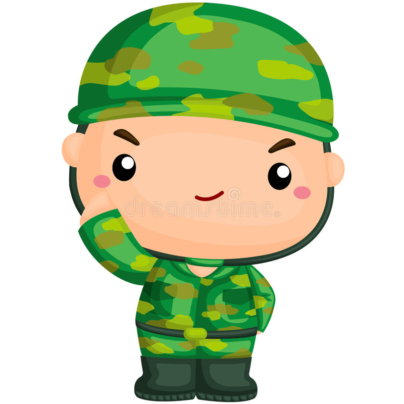 Cute Soldier on Duty stock illustration