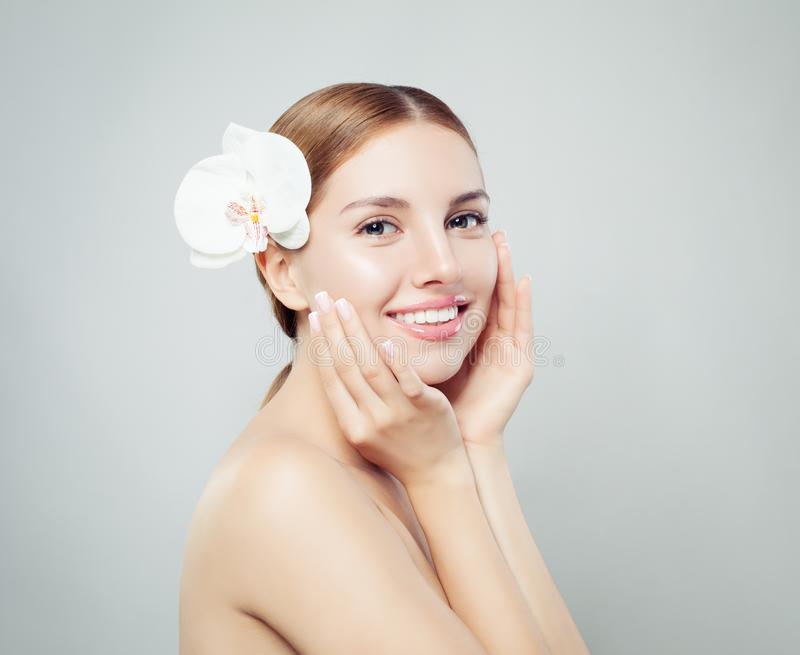 Cute spa woman with healthy skin royalty free stock photos