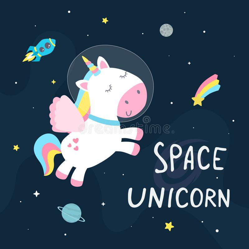 Cute space unicorn stock illustration