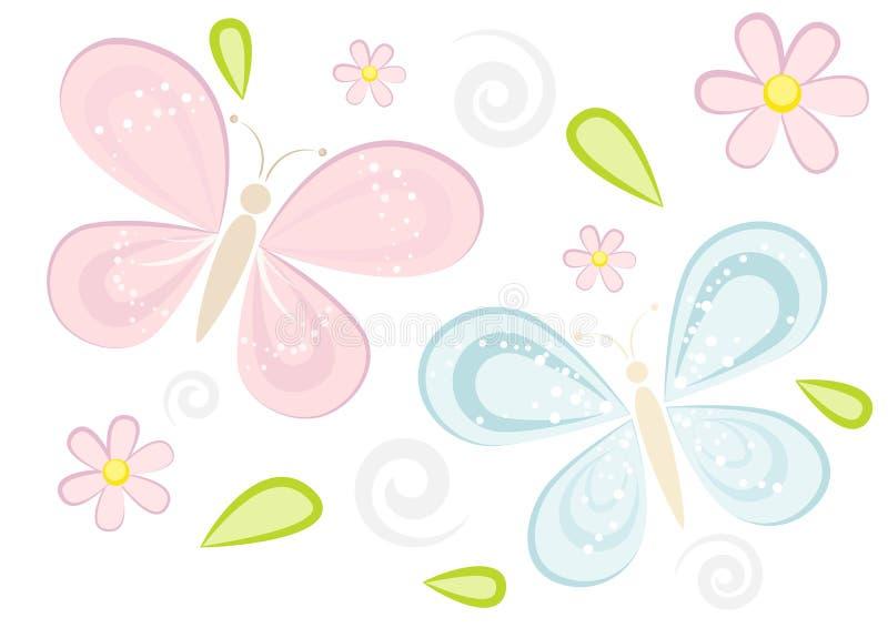 Cute sparkling butterflies background vector illustration