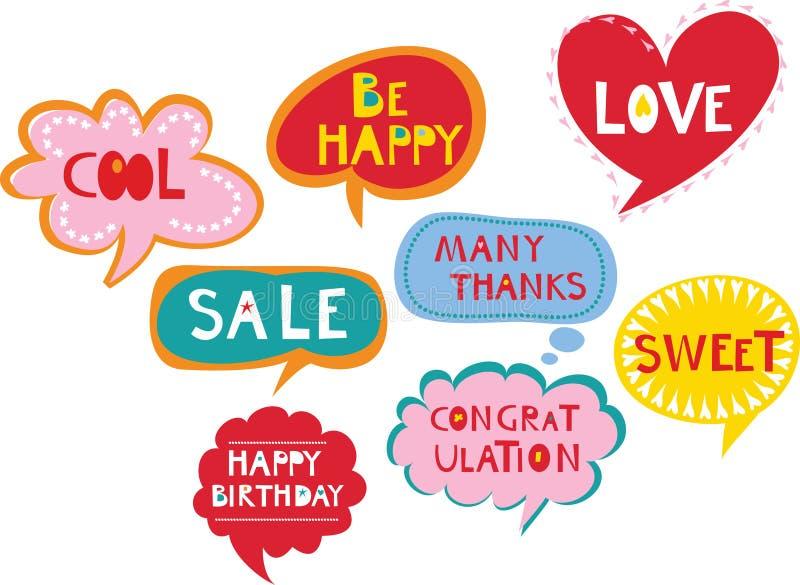 Cute speech bubbles royalty free illustration
