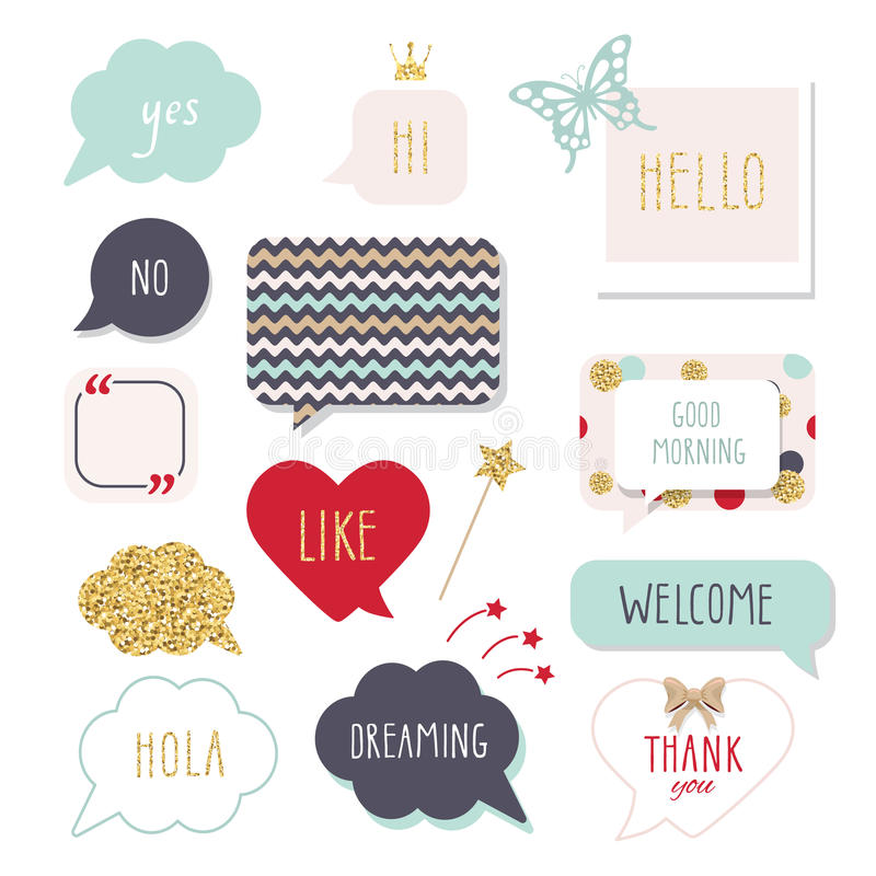 Cute speech bubbles with hand written words. Girly stickers set in bright colors gold glitter. Thank You, Good Morning vector illustration