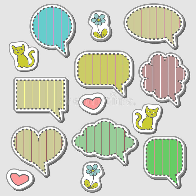 Download Cute Speech Bubbles Stickers Set Stock Photos - Image: 24138203