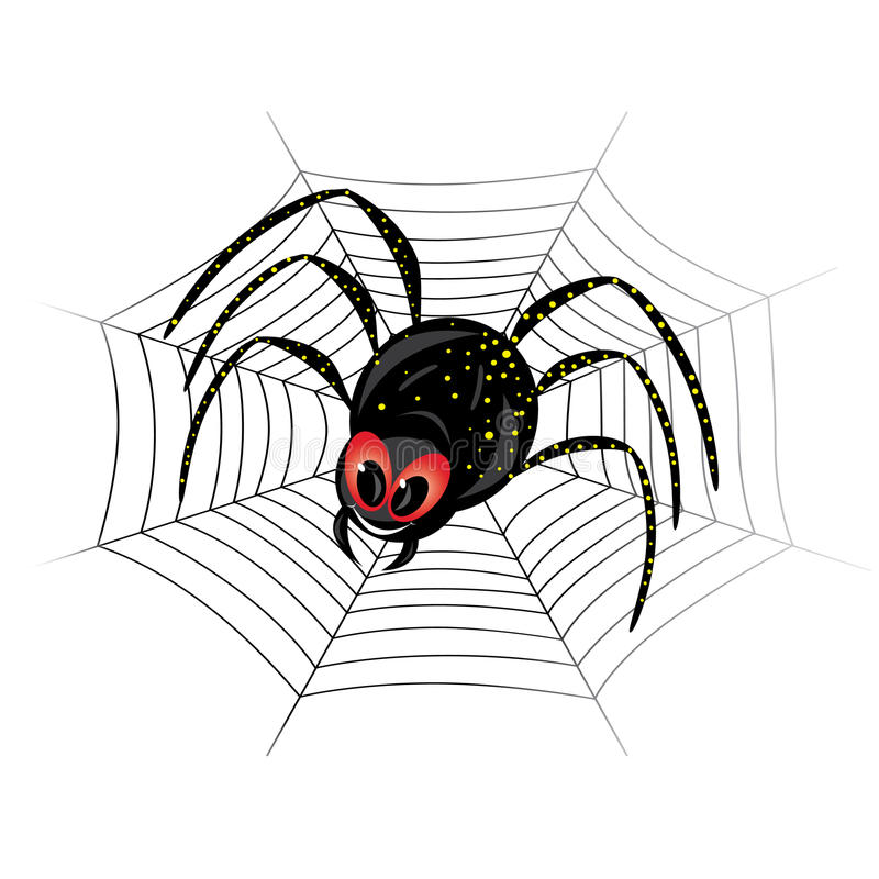 Cute spider on web vector illustration