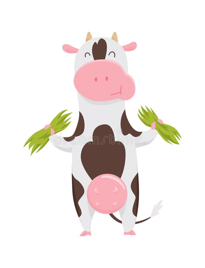Cute spotted cow eating grass, funny farm animal cartoon character vector Illustration on a white background. stock illustration