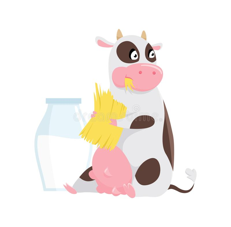 Cute spotted cow eating grass, funny farm animal cartoon character vector Illustration on a white background. royalty free illustration