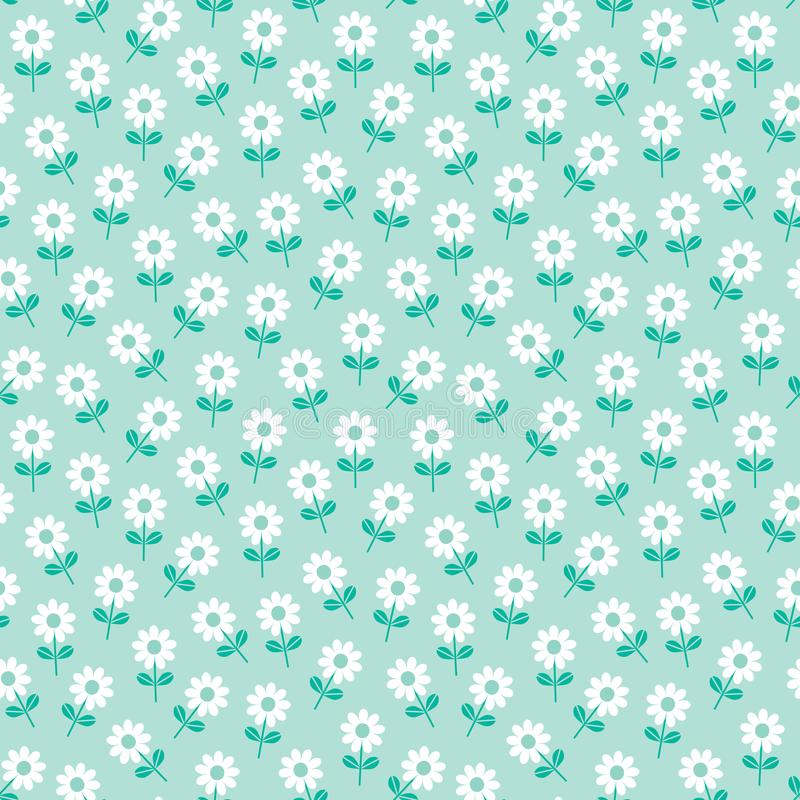 Cute spring floral pattern white daisies on mint. Cute seamless vector pattern with white daisies on mint background. Sweet floral mini print for fashion and stock illustration