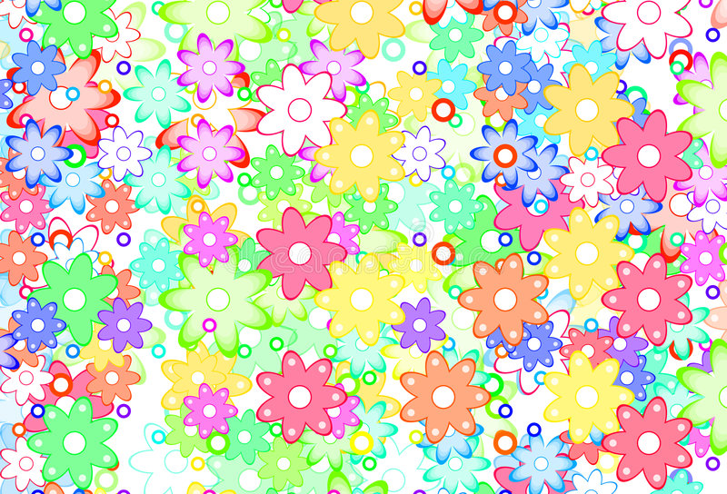 Cute Spring Flowers Abstract vector illustration